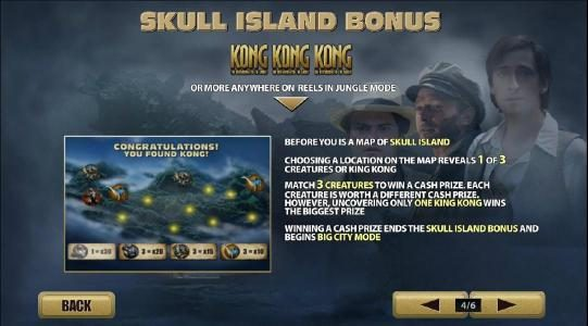 KONG The 8th wonder of the world :: skull island bonus triggered when 3 or more kong symbols anywhere on reels in jungle mode