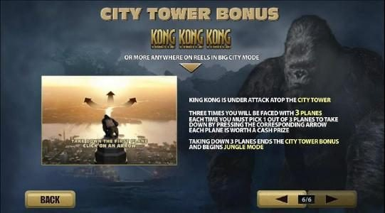 KONG The 8th wonder of the world :: city tower bong with 3 or more kong symbols anywhere on reels in big city mode