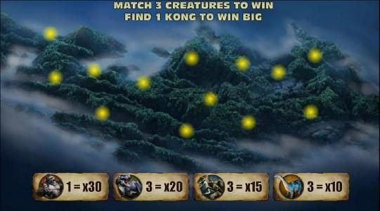 KONG The 8th wonder of the world :: match 3 creatures to win, find 1 kong to win big