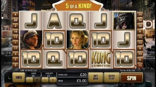 KONG The 8th wonder of the world :: 5 of a kind jackpot