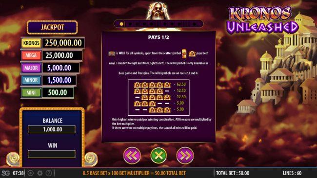 Kronos Unleashed :: Wild Symbol Rules