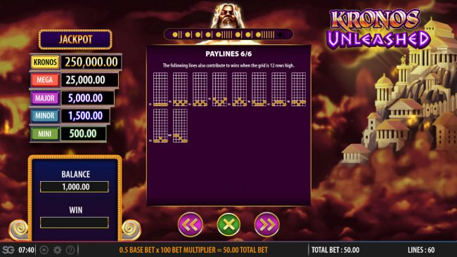 Norske Casino featuring the Video Slots Kronos Unleashed with a maximum payout of $250,000