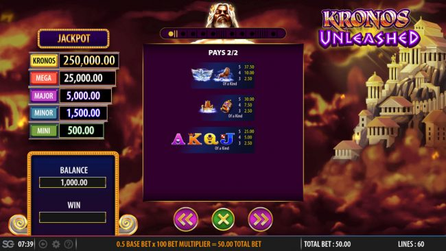 Mr Green featuring the Video Slots Kronos Unleashed with a maximum payout of $250,000