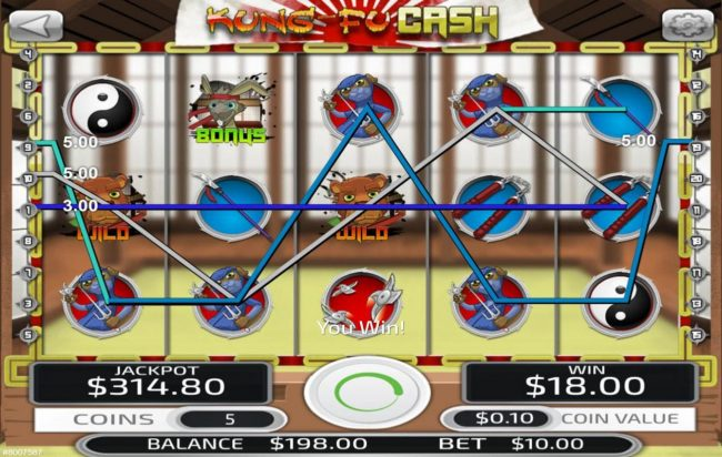 MyBcasino featuring the Video Slots Kung-Fu Cash with a maximum payout of $50,000