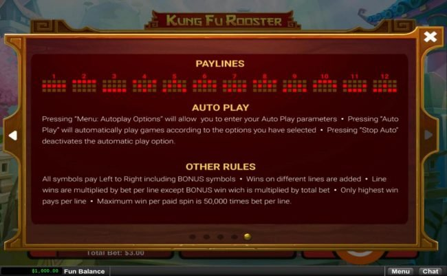 Mighty Slots featuring the Video Slots Kung Fu Rooster with a maximum payout of $12,500