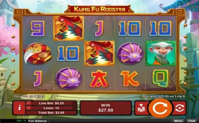 iNET Bet featuring the Video Slots Kung Fu Rooster with a maximum payout of $12,500