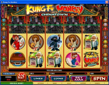 Go Wild featuring the Video Slots Kung Fu Monkey with a maximum payout of $25,000