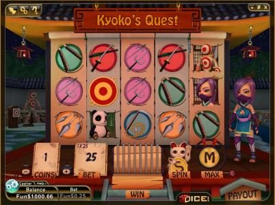 Play slots at 3Dice: 3Dice featuring the Video Slots Kyoko's Quest with a maximum payout of 3000 coins