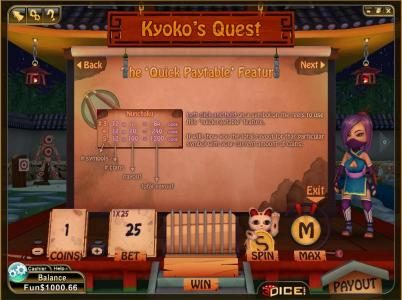 3Dice featuring the Video Slots Kyoko's Quest with a maximum payout of 3000 coins