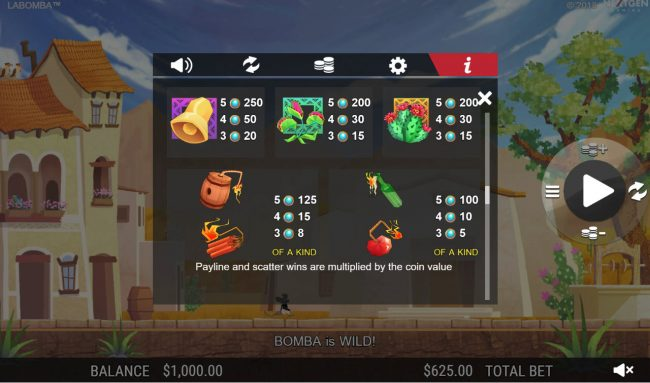 Sin Spins featuring the Video Slots La Bomba with a maximum payout of $12,500