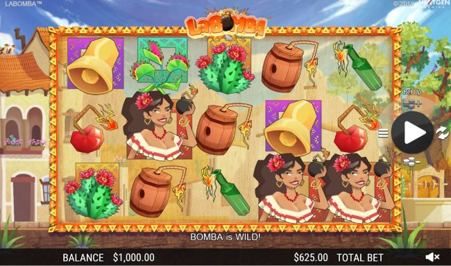 Cosmik featuring the Video Slots La Bomba with a maximum payout of $12,500