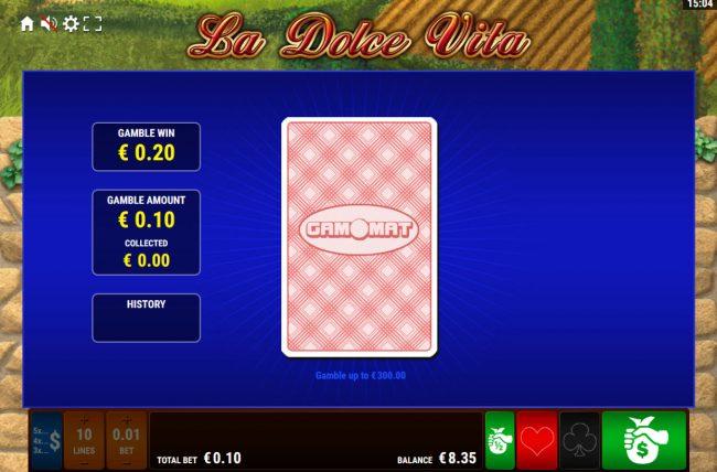 La Dolce Vita :: Card Gamble Feature Game Board