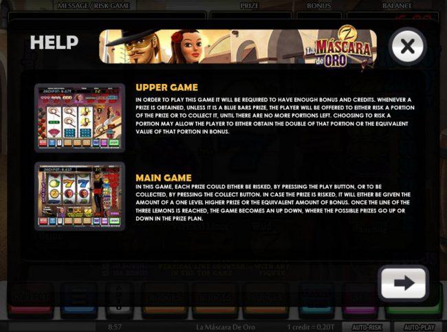 La Mina de Oro :: Upper Game and Main Game Rules