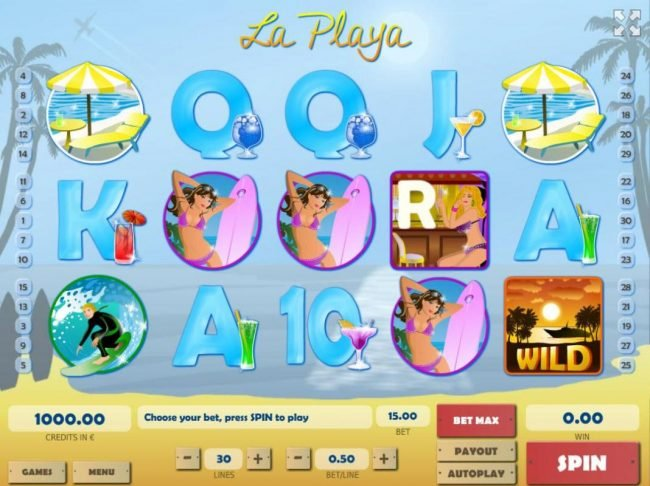 888 Tiger featuring the Video Slots La Playa with a maximum payout of $75,000