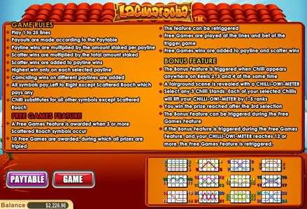 Red Stag featuring the Video Slots La Cucharacha with a maximum payout of $100,000