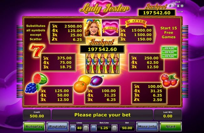 My Bet featuring the Video Slots Lady jester with a maximum payout of Jackpot