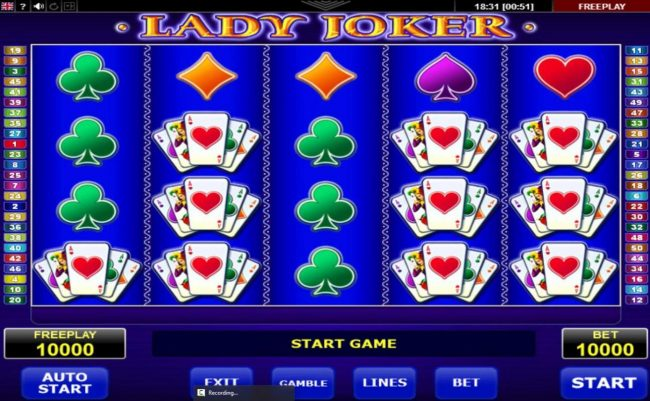 Yoyo featuring the Video Slots Lady Joker with a maximum payout of $10,000
