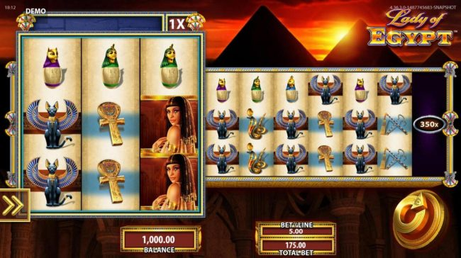 Lady of Egypt :: An ancient Egyptian themed main game board featuring ten reels and 9 paylines with a $250,000 max payout
