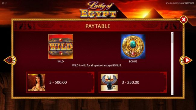 BGO Vegas featuring the Video Slots Lady of Egypt with a maximum payout of $250,000