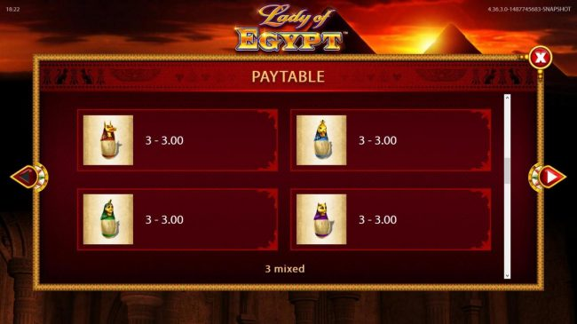 Lady of Egypt :: Low value game symbols paytable.