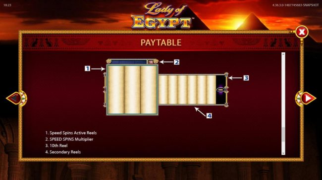 Lady of Egypt :: Reels Layout and Description.