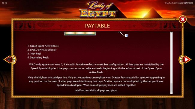 Lady of Egypt :: Reels Layout and Description - Continued.