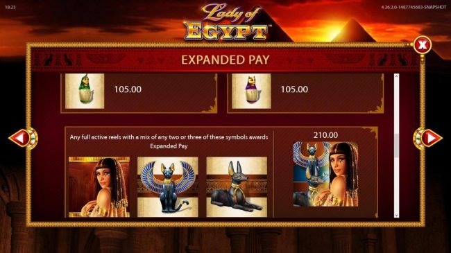 Lady of Egypt :: Expanded Pay - Fill the Speed Spins 3x3 Active Reels with the same symbol or mixed symbols for Expanded Pay - Continued.