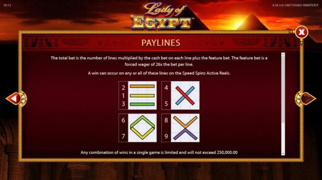 Vegas Winner featuring the Video Slots Lady of Egypt with a maximum payout of $250,000