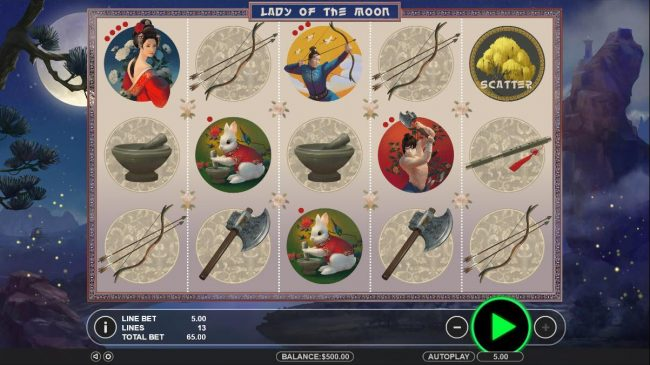 Slots Village featuring the Video Slots Lady of the Moon with a maximum payout of $65,000