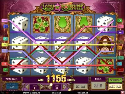 Play slots at Lucky Me Slots: Lucky Me Slots featuring the Video Slots Lady of Fortune with a maximum payout of $3,125