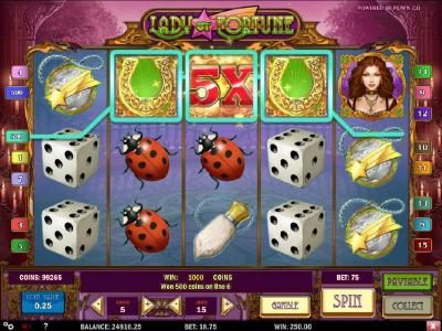 Lucky Me Slots featuring the Video Slots Lady of Fortune with a maximum payout of $3,125
