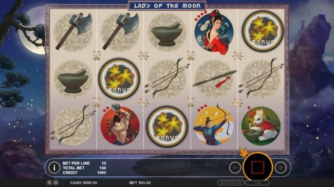 21 Dukes featuring the Video Slots Lady of the Moon with a maximum payout of $65,000