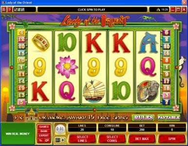 Play slots at Aztec Ritces: Aztec Ritces featuring the Video Slots Lady of the Orient with a maximum payout of $50,000