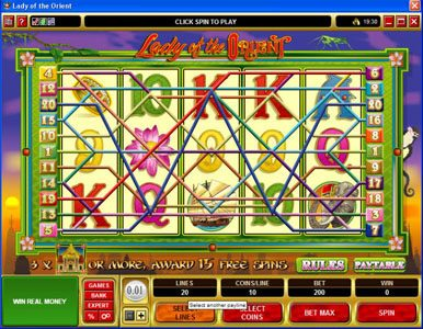 All Irish featuring the Video Slots Lady of the Orient with a maximum payout of $50,000