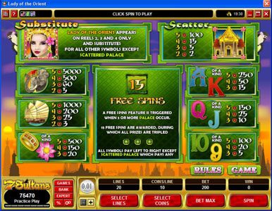 Fortune Junction featuring the Video Slots Lady of the Orient with a maximum payout of $50,000