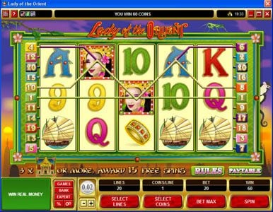 Platinum Play featuring the Video Slots Lady of the Orient with a maximum payout of $50,000
