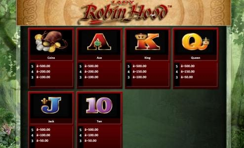 Vera&John featuring the Video Slots Lady Robin Hood with a maximum payout of $1,000