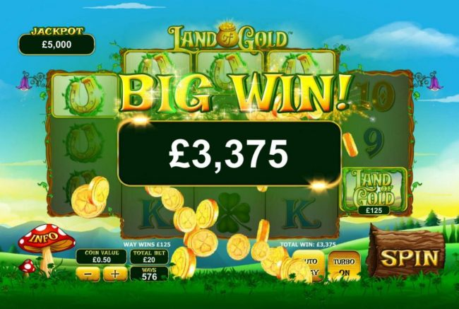 Slots Heaven featuring the Video Slots Land of Gold with a maximum payout of $3,000