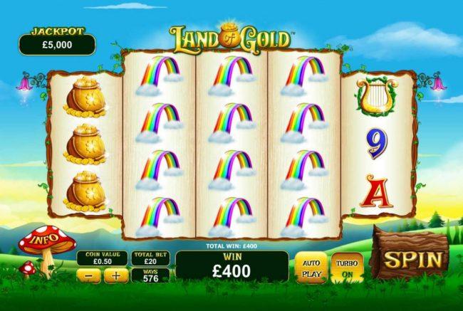 A 400.00 jackpot triggered by stacks of raibow symbols.