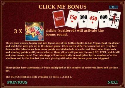 click me bonus game rules