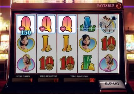 three of a kind pays out a 150 coin jackpot durinf the free spins feature