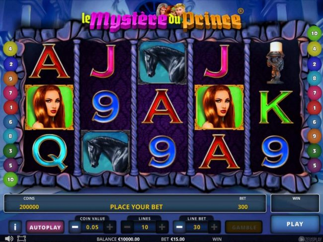 Campeon featuring the Video Slots Le Mystere du Prince with a maximum payout of $405,000