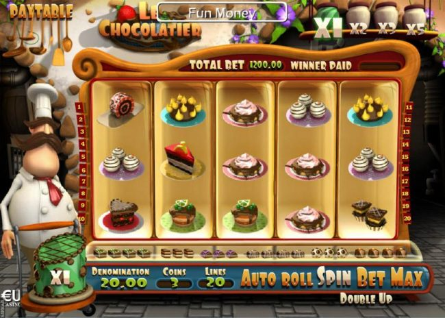 Play slots at Win 7: Win 7 featuring the Video Slots Le Chocolatier with a maximum payout of $150,000
