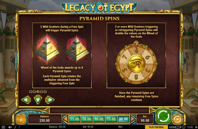 Queen Vegas featuring the Video Slots Legacy of Egypt with a maximum payout of $450,000