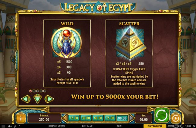 7 Gods Casino featuring the Video Slots Legacy of Egypt with a maximum payout of $450,000