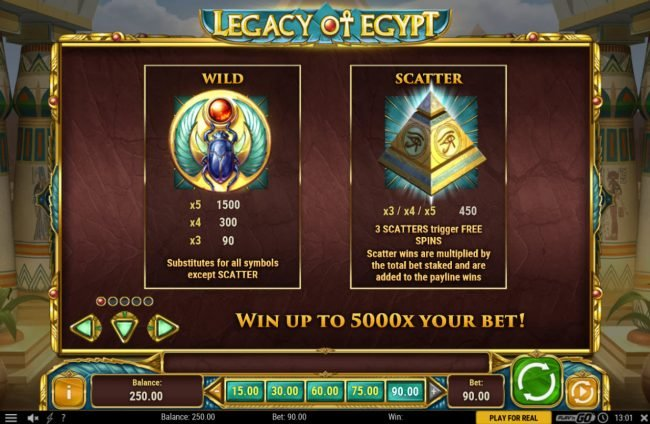 Jellybean Casino featuring the Video Slots Legacy of Egypt with a maximum payout of $450,000