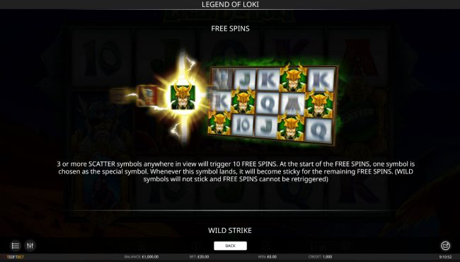 Viggoslots featuring the Video Slots Legend of Loki with a maximum payout of $10,000