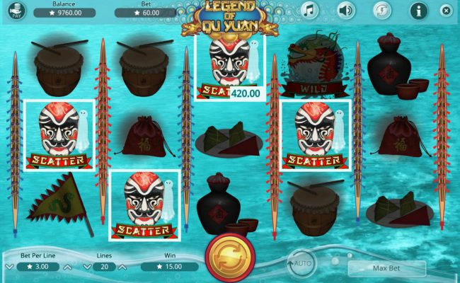 Play 24 Bet featuring the Video Slots Legend of Qu Yuan with a maximum payout of $45,000