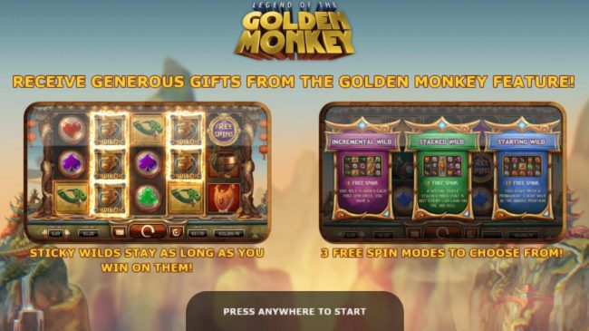 Legend of the Golden Monkey :: Game features include: Sticky wilds stay as long as you win on them! 3 Free Spins modes to choose from.