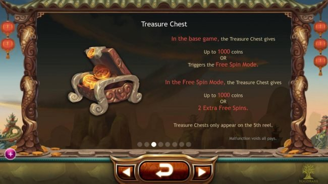 Landing a Treasure Chest symbol on the 5th reel awards up to 1000 coins or triggers the Free Spins Mode.